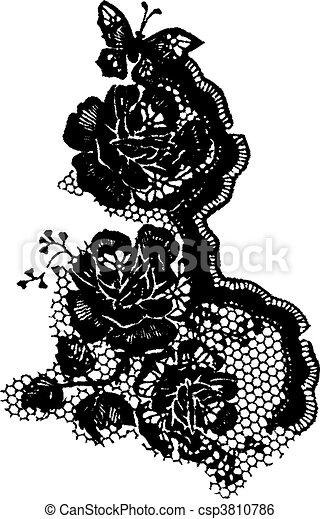 rose and butterfly lace pattern - csp3810786