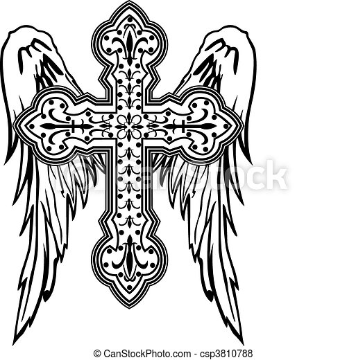 cross with wing tribal design - csp3810788