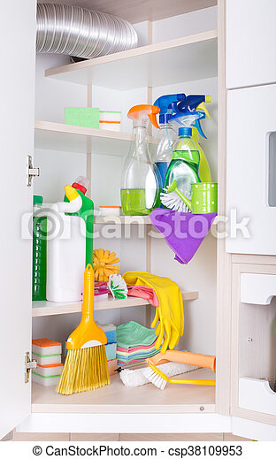 Cleaning supplies and tools stored on shelves in storage place
