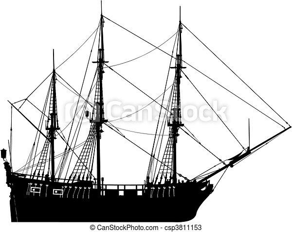 very hi detailed sailing boat (vect - csp3811153