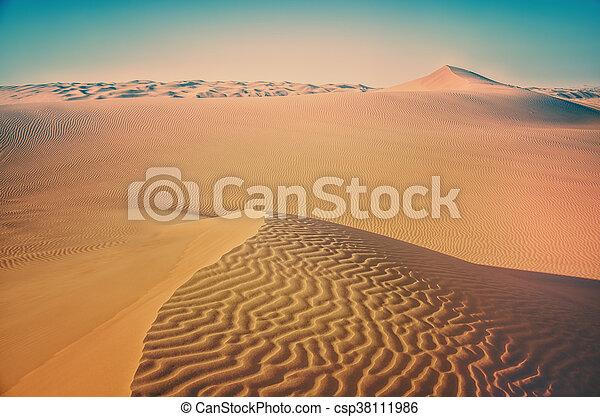 Desert landscape.Background desert landscape.Dunes of the desert.Waves sand on top of the dunes.Sand desert. Desert dunes sunset landscape.