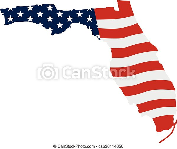 Clipart Vector of Florida patriotic map. Vector graphic design ...