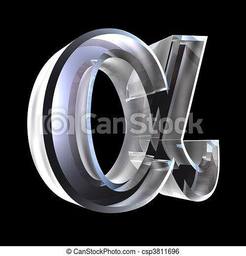 Alpha symbol in glass (3d)  - csp3811696
