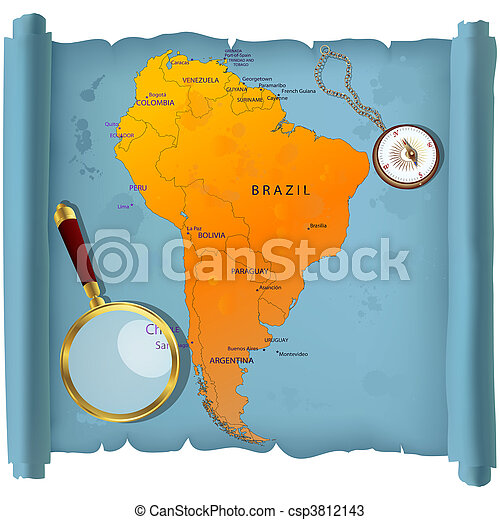 South America map on a roll - csp3812143