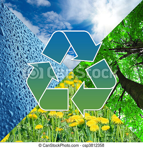 recycling sign with images of nature - eco concept     - csp3812358