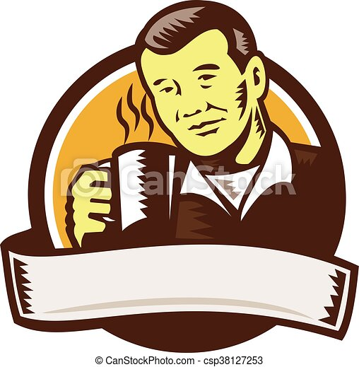 Clipart Vector of Asian Man Drinking Coffee Circle Woodcut ...