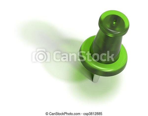 green plastic pushpin or thumbtack - accept - csp3812885