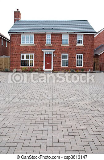 Detached red brick house - csp3813147