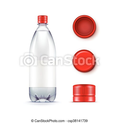 Vector Blank Plastic Blue Water Bottle with Set of Red Caps Isolated on White Background - csp38141739