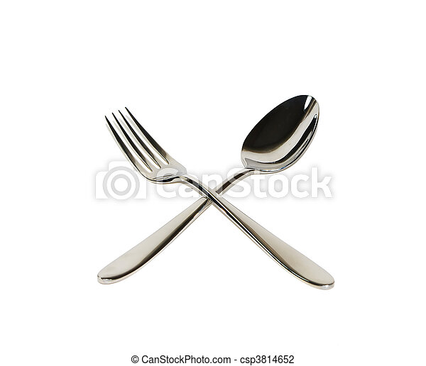 Spoon and fork isolated on white  - csp3814652