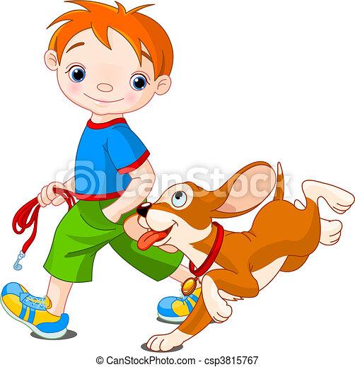 Boy walking a dog - csp3815767