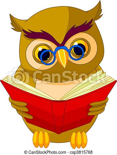 Wise Owl Cartoon - csp3815768