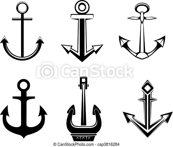 Anchor Line Drawings Set of Anchor Symbols