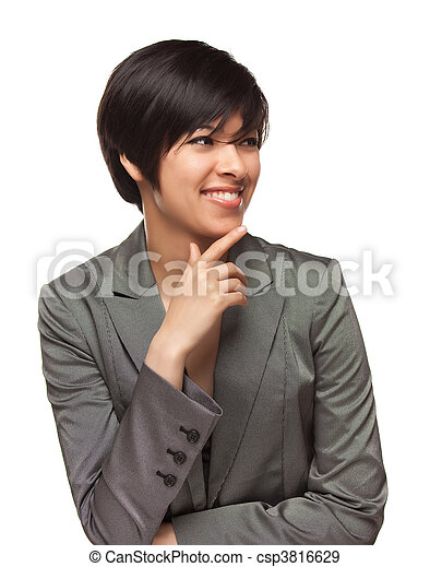 Pretty Smiling Multiethnic Young Adult Woman on White - csp3816629