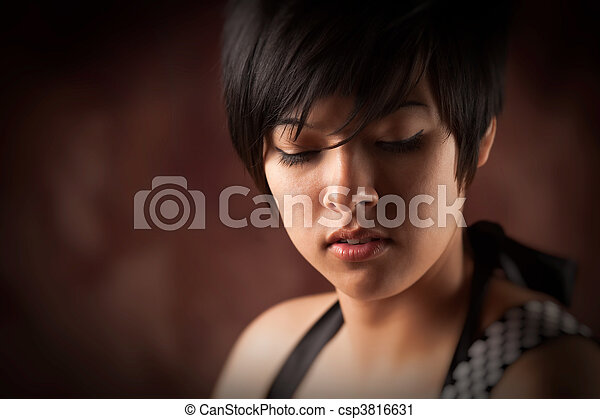 Pretty Smiling Multiethnic Young Adult Woman Portrait - csp3816631