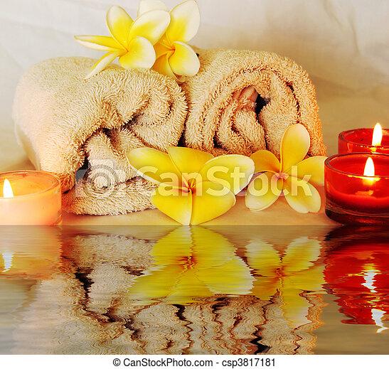 spa image of frangipani flowers - csp3817181