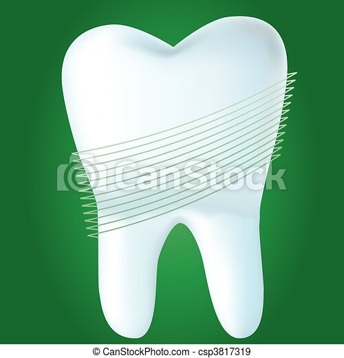 Tooth on green background, vector illustration made with mesh - csp3817319