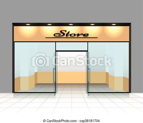 Store Doors Clipart vector clipart of empty shop front or store front vector