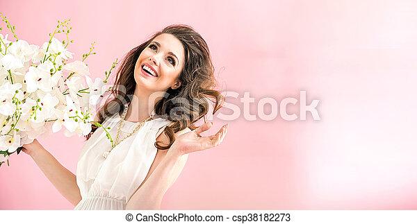 肖像画, 女, 若い, 魅了 - csp38182273