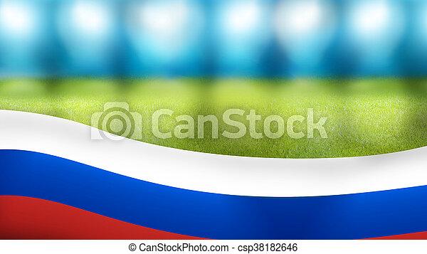 russia russian stadium floodlights banner 3d render
