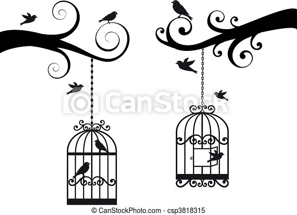 Vecteur Clipart de cage d'oiseaux, Oiseaux, vecteur - décoratif ...