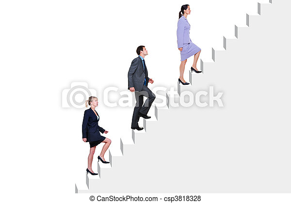 Business people climbing stairs - csp3818328