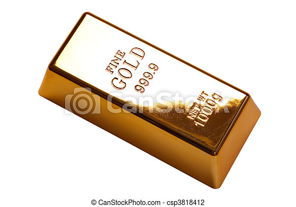 Gold bar isolated with - csp3818412