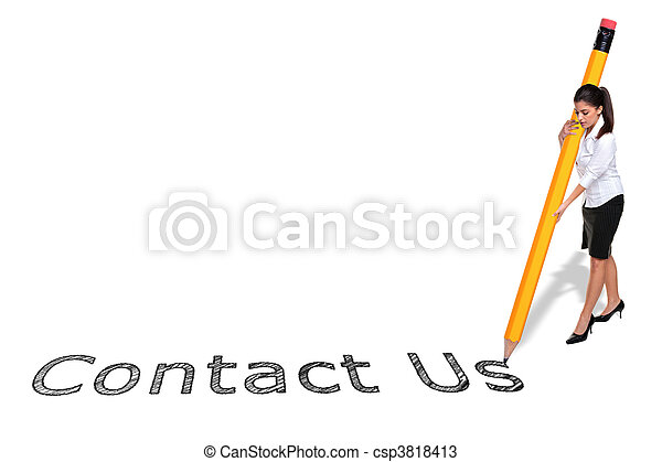 Businesswoman writing Contact Us with a giant pencil - csp3818413