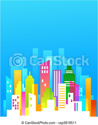 Downtown background with blue sky - csp3818511