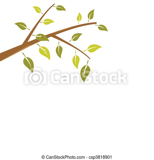 Abstract branch tree is isolated on white background - csp3818901