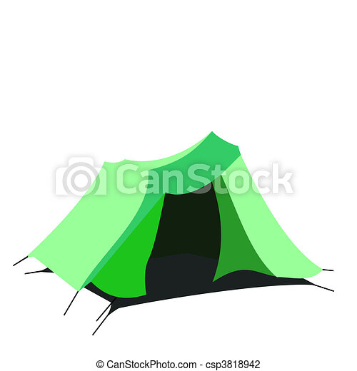 Tourist tent isolated on a white background - csp3818942