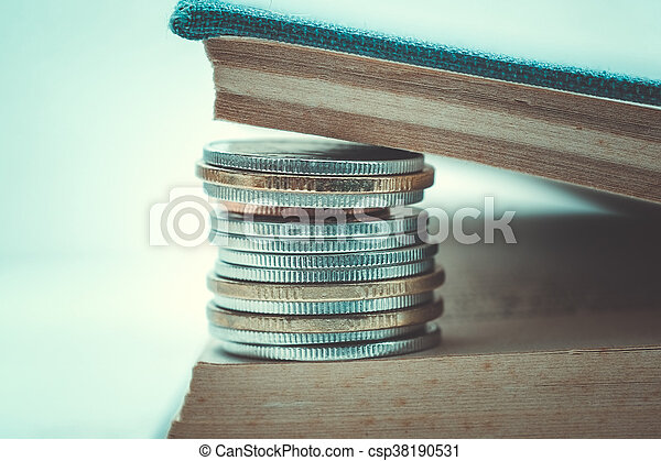 business finance. save money for investment concept coins with filter effect retro vintage style