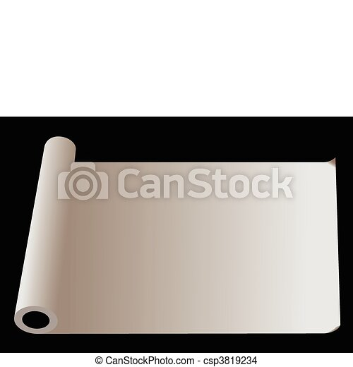 Developed roll of  paper isolated on  black background - csp3819234