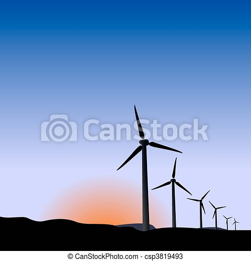 Realistic illustration wind generators of sunrise - csp3819493