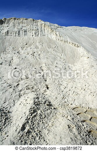 white sand mound quarry like moon landscape - csp3819872