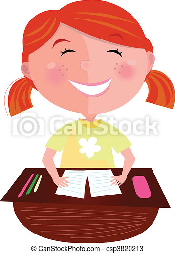 Back to school: Happy red hair girl - csp3820213