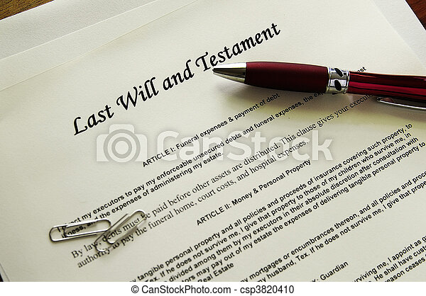 Last Will and Testament documents  with misc items - csp3820410