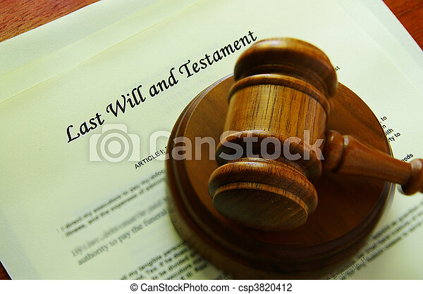 Legal gavel on a will (legal documents) - csp3820412