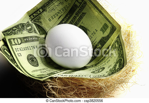 egg in a nest with cash, symbolizing retirement or money saving - csp3820556