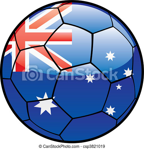 flag of Australia on soccer ball - csp3821019