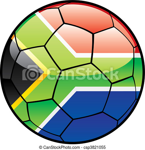 flag of South Africa on soccer ball - csp3821055