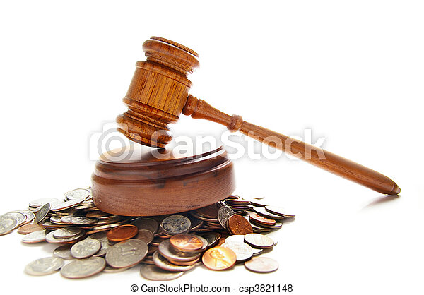 judges law gavel on a pile of coins, over white - csp3821148