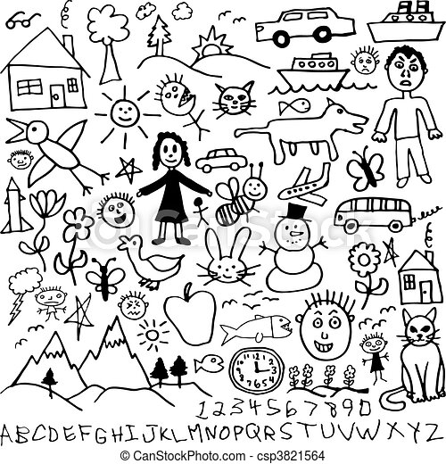 set of childrens drawings csp3821564 - Picture For Drawing For Children