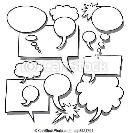 Comics Word and Thought Bubbles - csp3821791