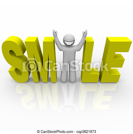 Smile - Smiley Man in Word - csp3821873