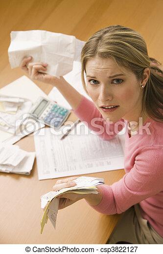 Woman Paying Bills - csp3822127