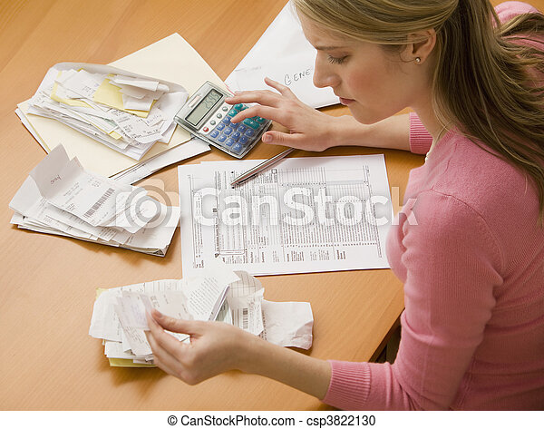 Woman Paying Bills - csp3822130