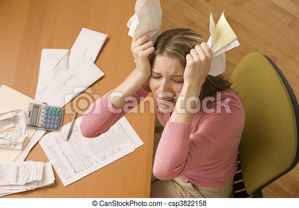 Woman Paying Bills - csp3822158