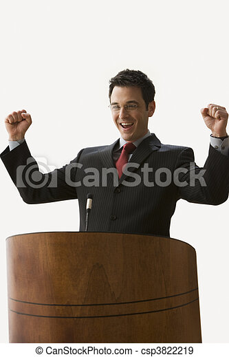 Businessman with Arms Raised - Isolated. - csp3822219