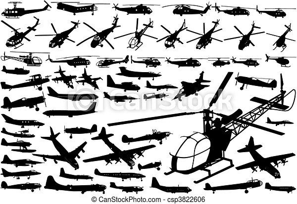helicopters and airplanes (vector) - csp3822606